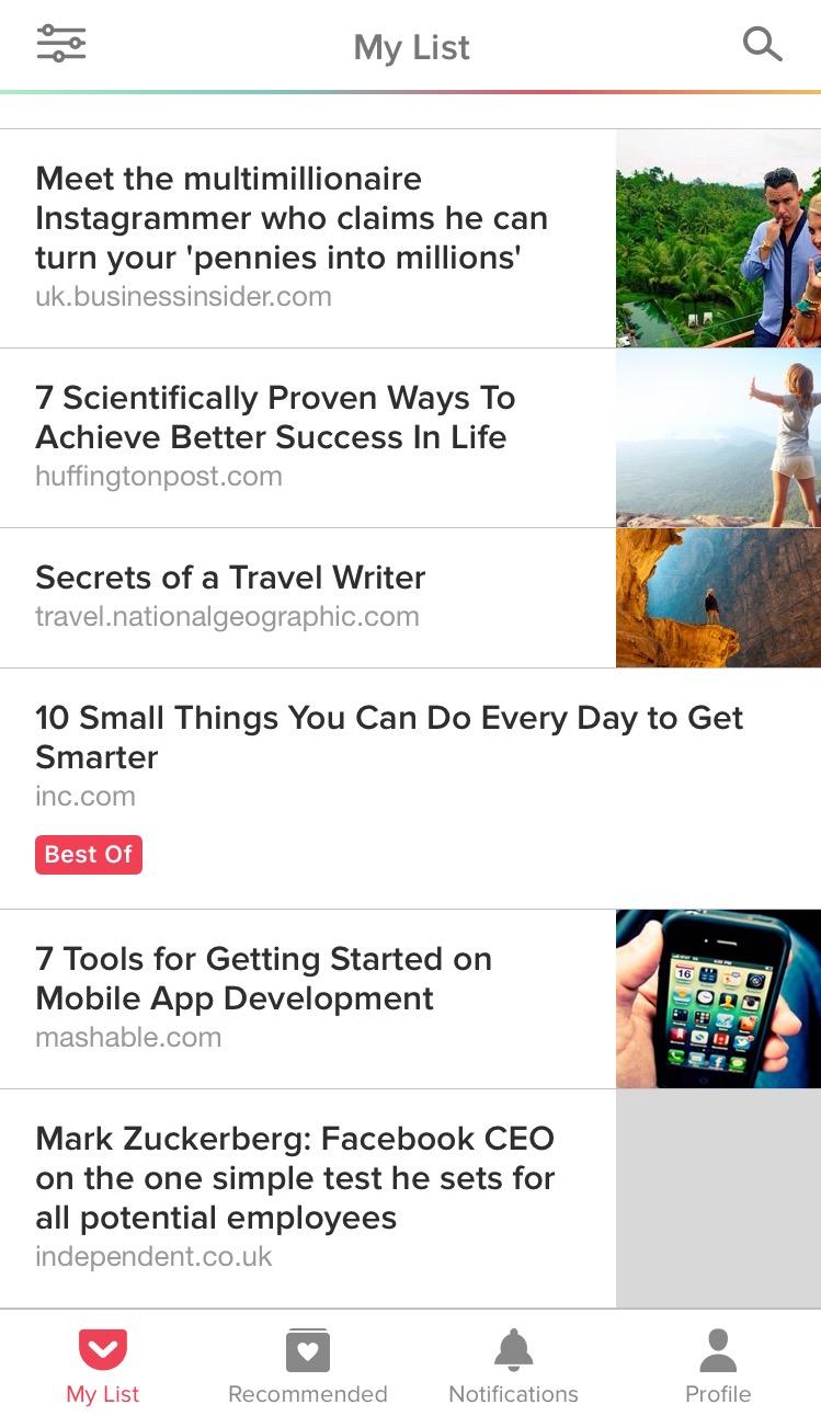 pocket app articles