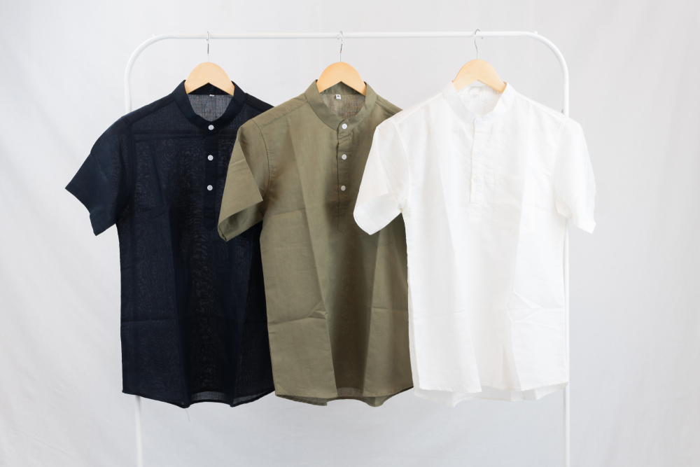 Linen Shirts hanging on rack